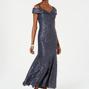 R & M Richards Off-The-Shoulder Lace Gown Steel